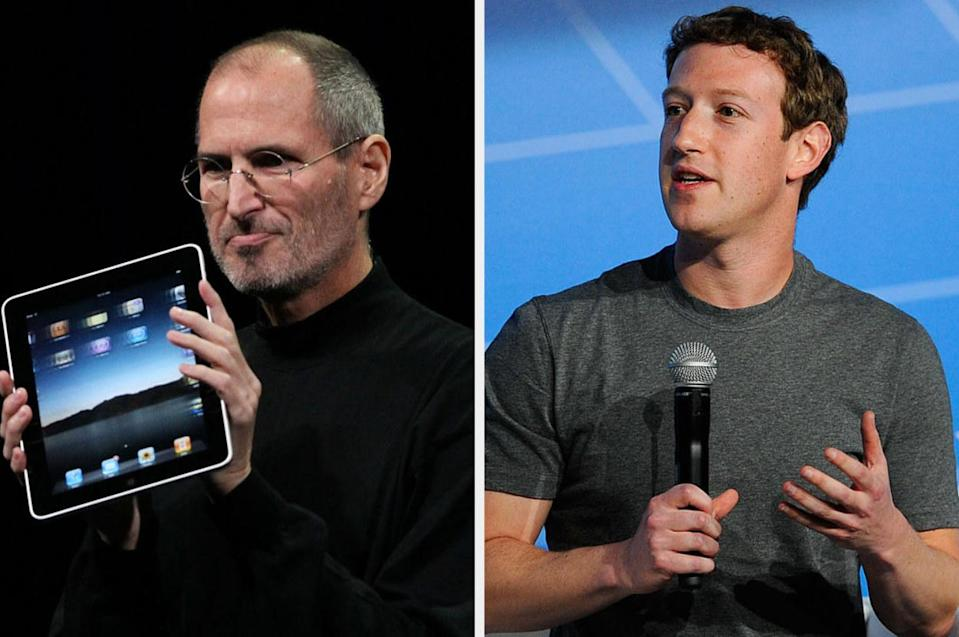 Steve Jobs with an iPad and Zuckerberg speaking into a microphone