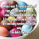 """<p>This woman revealed that she kept her beautiful daughter and is expecting another baby with her current fiance. """"You didn't ruin me,"""" she states powerfully. <i> (Photo: Whisper) </i> </p>"""