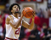 Indiana forward Jerome Hunter (21) prepares to shoot from the free throw line during the second half of an NCAA college basketball game against Rutgers, Sunday, Jan. 24, 2021, in Bloomington, Ind. (AP Photo/Doug McSchooler)