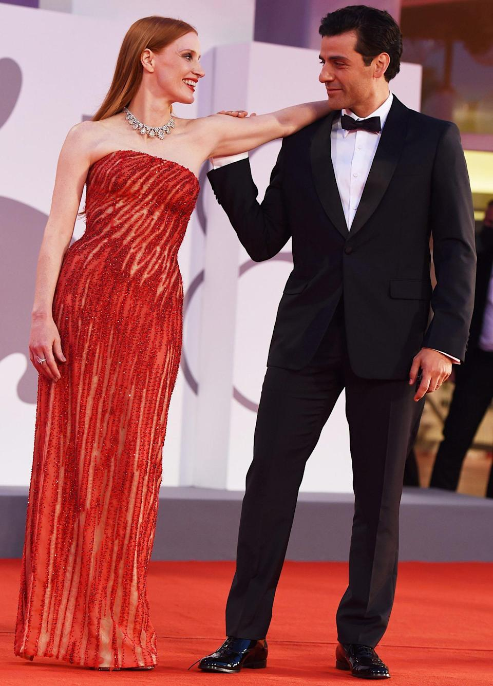 """<p>In the process, the pair, who trained at Juilliard together and have known each other for two decades, became the <a href=""""https://people.com/tv/jessica-chastain-oscar-isaac-red-carpet-chemistry-venice-film-festival/"""" rel=""""nofollow noopener"""" target=""""_blank"""" data-ylk=""""slk:talk of the Internet"""" class=""""link rapid-noclick-resp"""">talk of the Internet</a>. </p>"""