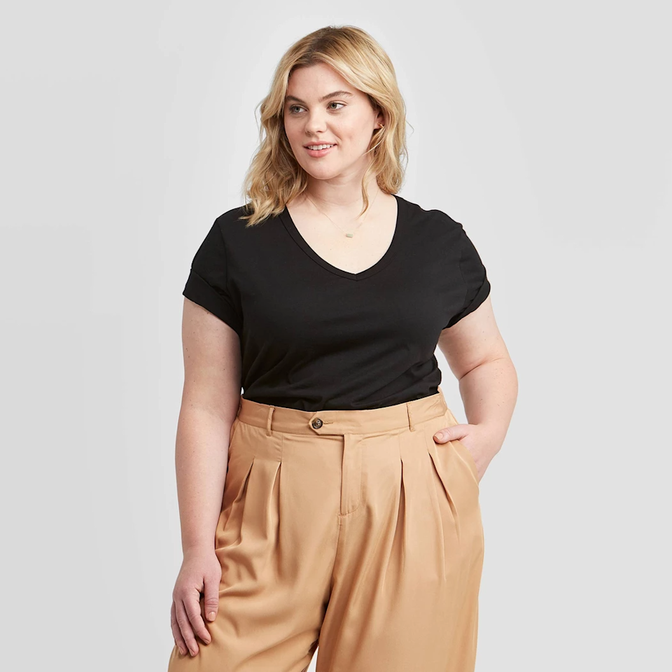 """<strong>The Perfect Plus-Size Tee</strong><br><br>Featuring a lightweight 100% cotton and a flattering v-neck, this is the tee you can dress up with a skirt and jacket or down with jeans. You'll live in it.<br><br><strong>The Hype:</strong> 4 out of 5 Stars on Target<br><br><strong>What They're Saying:</strong> """"Nice fitting casual top. Can be dressed up or kept casual and is super comfortable. Easy to wash and wear and great value for the price."""" - Anonymous, Target Review<br><br><strong>Ava & Viv</strong> Plus Size Short Sleeve T-Shirt, $, available at <a href=""""https://go.skimresources.com/?id=30283X879131&url=https%3A%2F%2Fgoto.target.com%2F0kErP"""" rel=""""nofollow noopener"""" target=""""_blank"""" data-ylk=""""slk:Target"""" class=""""link rapid-noclick-resp"""">Target</a>"""