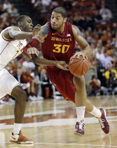 Iowa State's Royce White (30) drives past Texas' Sheldon McClellan (1) during the first half of an NCAA college basketball game, Tuesday, Jan. 24, 2012, in Austin, Texas. (AP Photo/Eric Gay)
