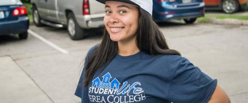 Student celebrating student life at Berea College