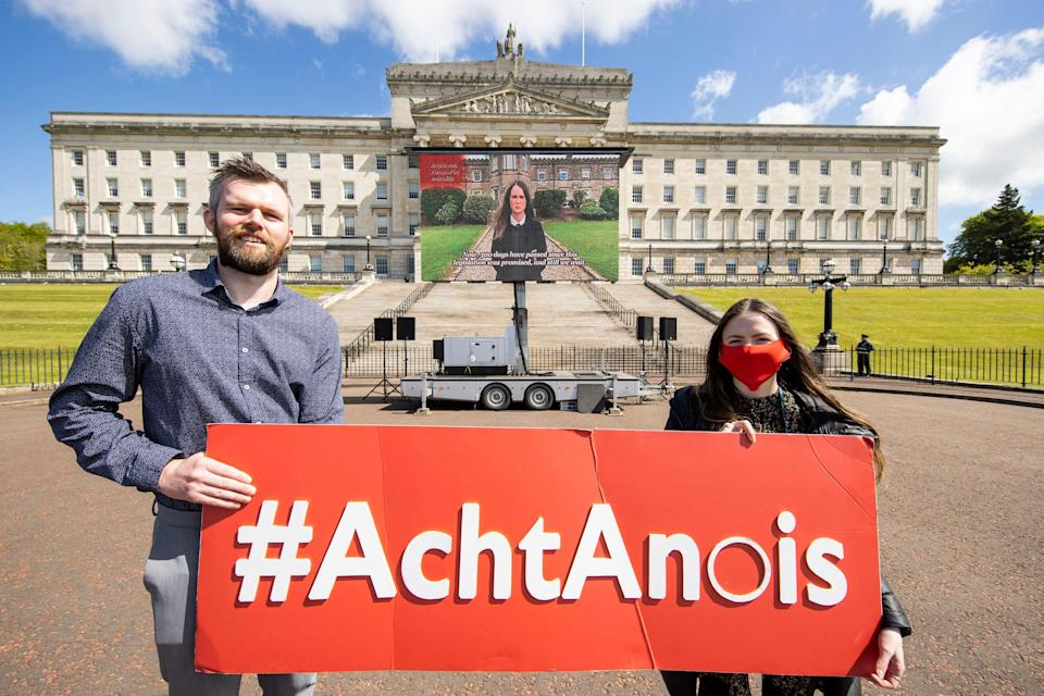 Campaigners at Stormont have called upon the Northern Ireland Executive to implement legislation regarding Irish language rights. (PA)