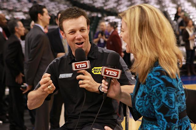 Nascar driver Matt Kenseth gives an interview to YES Network at American Airlines Center in Dallas, Tex., on Feb. 28, 2012. (Ronald Martinez/Getty Images for Texas Motor Speedway)