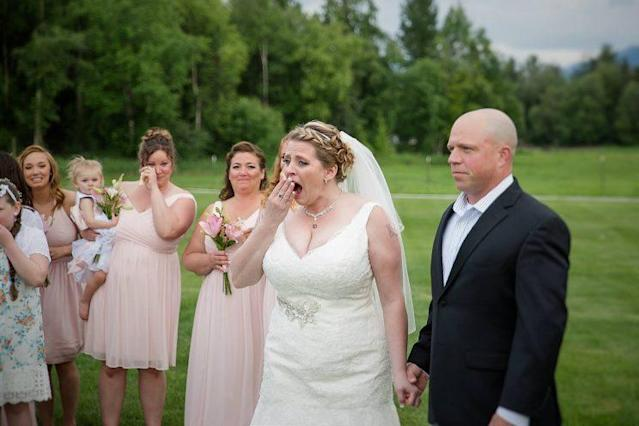 Her wedding day included the very best surprise. <br>(Photo: Facebook/ Love Adventured )