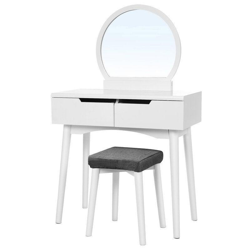"<h2>Arinze Vanity Set with Stool and Mirror<br></h2><br><strong>Discount:</strong> 44% off<br><br><strong>The Hype: </strong>4.6 out of 5 stars and 908 reviews<br><br><strong>Deal Hunters Say: </strong>""I love this vanity. I was worried it would be too small but it fit perfectly into this small corner of my room without feeling too tiny. The drawers come already assembled into the desk portion which made for an even easier setup process. The mirror is big, and the drawers hold a lot.""<br><br><em>Shop </em><strong><em><a href=""https://fave.co/3luoy2T"" rel=""nofollow noopener"" target=""_blank"" data-ylk=""slk:Wrought Studio"" class=""link rapid-noclick-resp"">Wrought Studio</a></em></strong><br><br><br><strong>Wrought Studio</strong> Arinze Vanity Set with Stool and Mirror, $, available at <a href=""https://go.skimresources.com/?id=30283X879131&url=https%3A%2F%2Ffave.co%2F3m8bgtq"" rel=""nofollow noopener"" target=""_blank"" data-ylk=""slk:Wayfair"" class=""link rapid-noclick-resp"">Wayfair</a>"