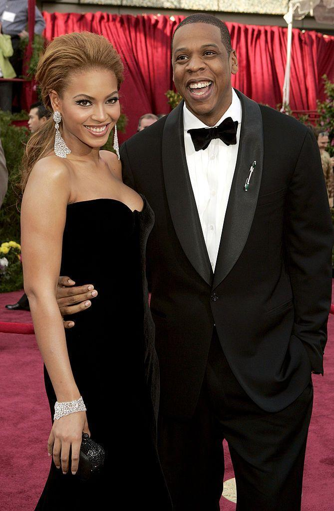 <p>Beyoncé - who performed at the ceremony - wore the Versace black velvet dress of dreams on the red carpet.</p>