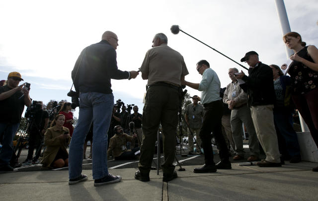 <p>Phil Johnston, center, the assistant sheriff for Tehama County, briefs reporters on the shootings near the Rancho Tehama Elementary School, Tuesday, Nov. 14, 2017, in Corning, Calif. Law enforcement says that five people, including the shooter were killed, and several people including some children were injured and taken to area hospitals. (AP Photo/Rich Pedroncelli) </p>