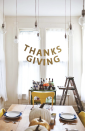 "<p>Every 21st century Thanksgiving dinner needs a proper photo opp, and this sparkly garland from <a href=""https://abeautifulmess.com/thanksgiving-garland/"" rel=""nofollow noopener"" target=""_blank"" data-ylk=""slk:A Beautiful Mess"" class=""link rapid-noclick-resp"">A Beautiful Mess</a> would look great as the backdrop for any picture. You can easily make it with card stock, a string, and a stapler—but don't forget the glitter to really make it pop.</p><p><a class=""link rapid-noclick-resp"" href=""https://go.redirectingat.com?id=74968X1596630&url=https%3A%2F%2Fwww.michaels.com%2Fextra-fine-glitter-stacker-artminds%2F10226102.html&sref=https%3A%2F%2Fwww.delish.com%2Fholiday-recipes%2Fthanksgiving%2Fg33808794%2Fthanksgiving-decorations%2F"" rel=""nofollow noopener"" target=""_blank"" data-ylk=""slk:BUY NOW"">BUY NOW</a> <em><strong>Extra fine glitter, $3.99</strong></em></p>"