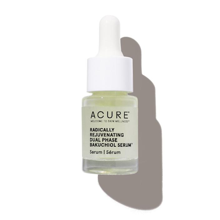 """Why you'll love it: This serum contains bakuchiol, a buzzy retinol alternative for smoothing skin, softening lines, and minimizing breakouts with less potential for irritation How you'll use it: The bottle contains a dual-phase formula: blue essence (with soothing antioxidants like turmeric) and yellow serum (a moisturizing blend with jojoba oil). Shake them together until it turns green, and apply a few drops of the ultra-lightweight formula onto clean skin. """"Initially I tried this serum because it contains bakuchiol, and the brilliant results I got have kept it in my medicine cabinet. I use it daily to keep my skin clear and glowing."""" — Paige Stables +Subscribe now+"""