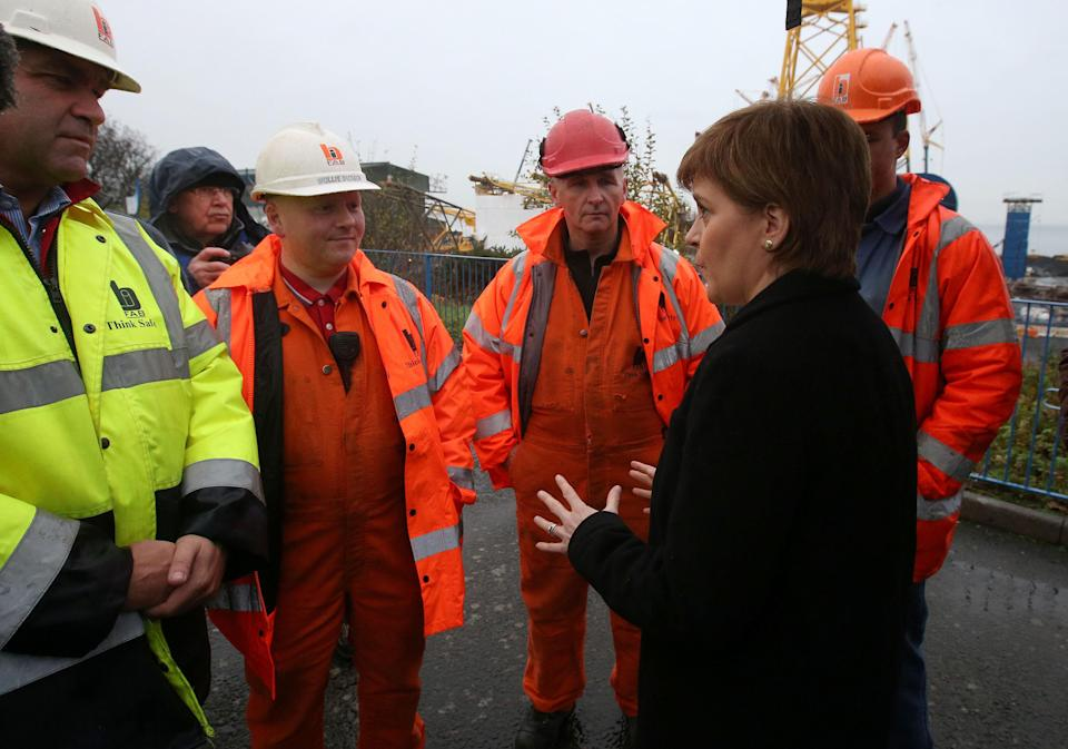 The Scottish Government, led by First Minister Nicola Sturgeon, stepped in to save the BiFab yards in 2017 (Andrew Milligan/PA)