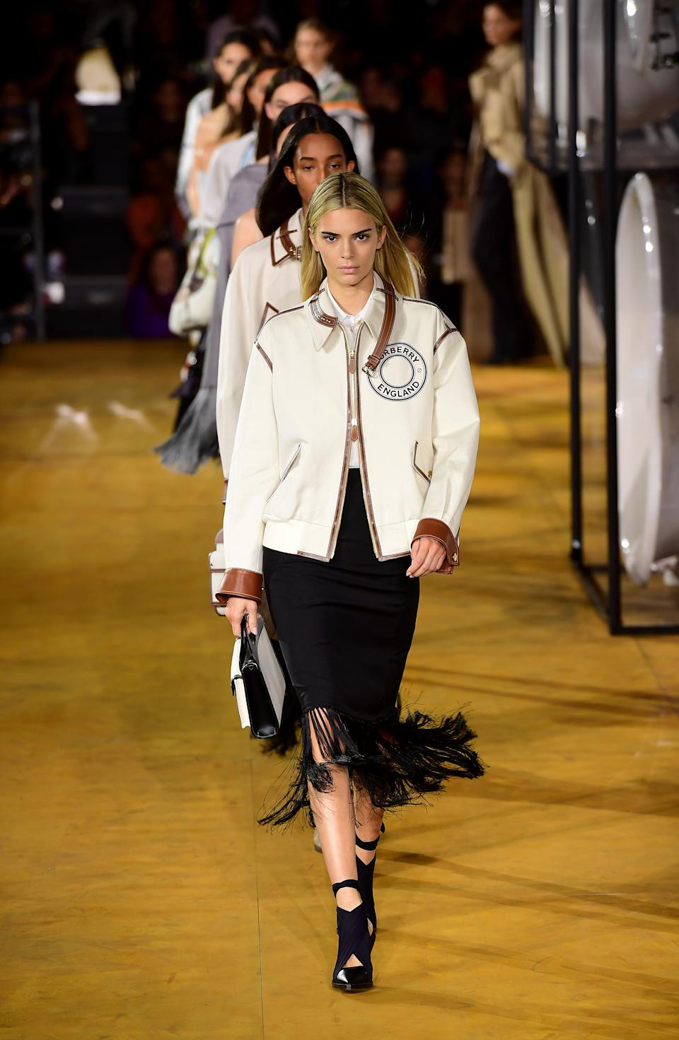 Kendall Jenner lead the finale at Burberry's spring/summer 2020 show. [Photo: Getty Images]