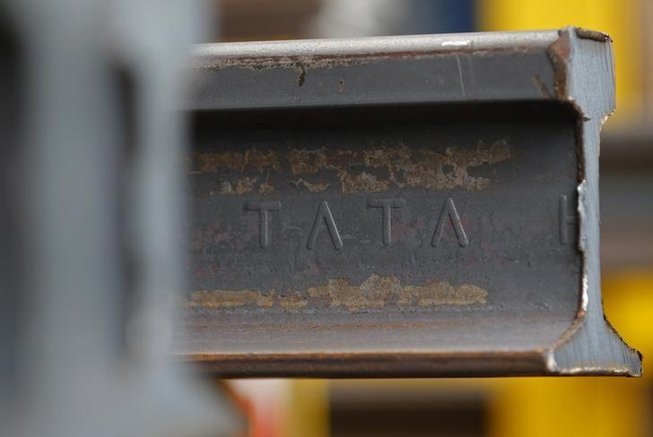 A rail is seen before finishing touches at the Tata Steel rails factory in Hayange