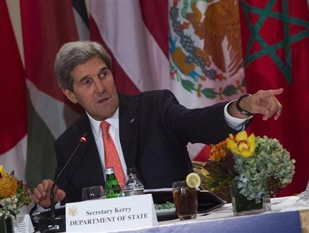 U.S. Secretary of State John Kerry speaks at a luncheon in New York