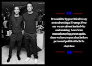 """<p>""""It would be hypocritical to say no to dressing a Trump,"""" <a href=""""http://www.nytimes.com/2016/11/13/fashion/donald-trump-melania-trump-anna-wintour-fashion.html"""" rel=""""nofollow noopener"""" target=""""_blank"""" data-ylk=""""slk:Wainwright told the New York Times"""" class=""""link rapid-noclick-resp"""">Wainwright told the <em>New York Times</em></a>. """"If we say we are about inclusivity and making American manufacturing great again, then we have to put that before personal political beliefs."""" </p>"""