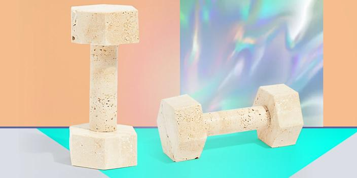 """<div class=""""caption""""> A literal paperweight, this two-pound travertine dumbbell could actually be used for at-home toning, but we love it just as a cheeky sculpture in a pretty stone. <a href=""""https://www.freepeople.com/shop/page-thirty-three-marble-dumbbells/"""" rel=""""nofollow noopener"""" target=""""_blank"""" data-ylk=""""slk:SHOP NOW"""" class=""""link rapid-noclick-resp"""">SHOP NOW</a>: Travertine marble dumbbell by Page Thirty Three, $100, freepeople.com </div> <cite class=""""credit"""">Photo courtesy of Free People</cite>"""