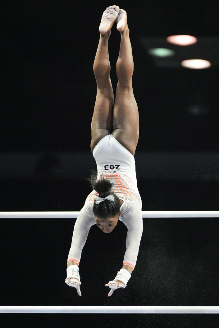 Simone Biles performs her routine on the uneven bars during the U.S. Classic gymnastics competition in Indianapolis, Saturday, May 22, 2021. (AP Photo/AJ Mast)