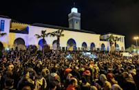 Moroccans have gathered at weekly demonstrations outside a mosque asking for support in the economic crisis