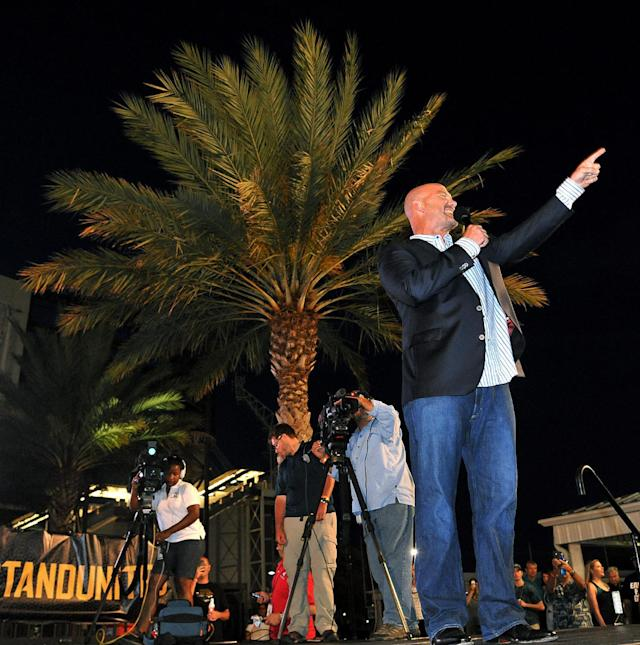 Jackson Jaguars Head Coach Gus Bradley tells fans about the first round NFL draft choice of Central Florida's Blake Bortles at the Jacksonville Jaguars' 2014 NFL Draft Party at EverBank Field on Thursday May 8, 2014, in Jacksonville, Fla. (AP Photo/Florida Times-Union/Bruce Lipsky)