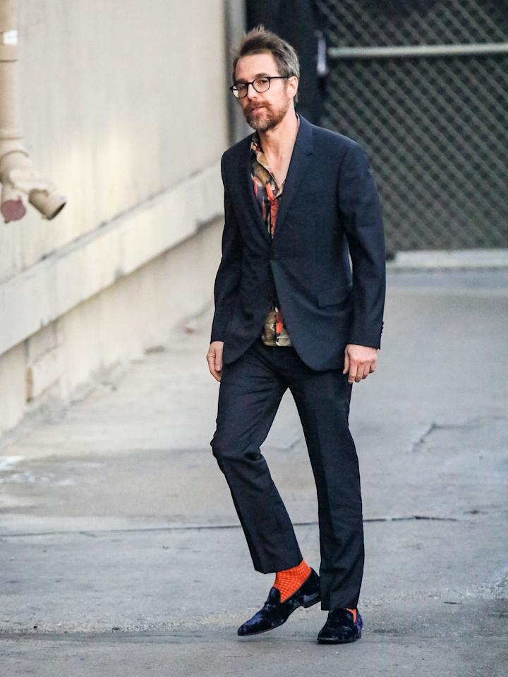 <p>WHERE: At <em>Jimmy Kimmel Live</em> in Los Angeles</p> <p>WHEN: December 5, 2019 </p> <p>WHY: Inspiration to wake up your navy blue suit with some blindingly bright socks.</p>