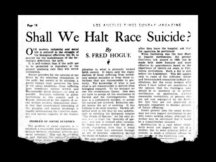 """S. Fred Hogue opinion piece, """"Shall We Halt Race Suicide?"""" appeared in the Los Angeles Times Sunday Magazine in 1935."""