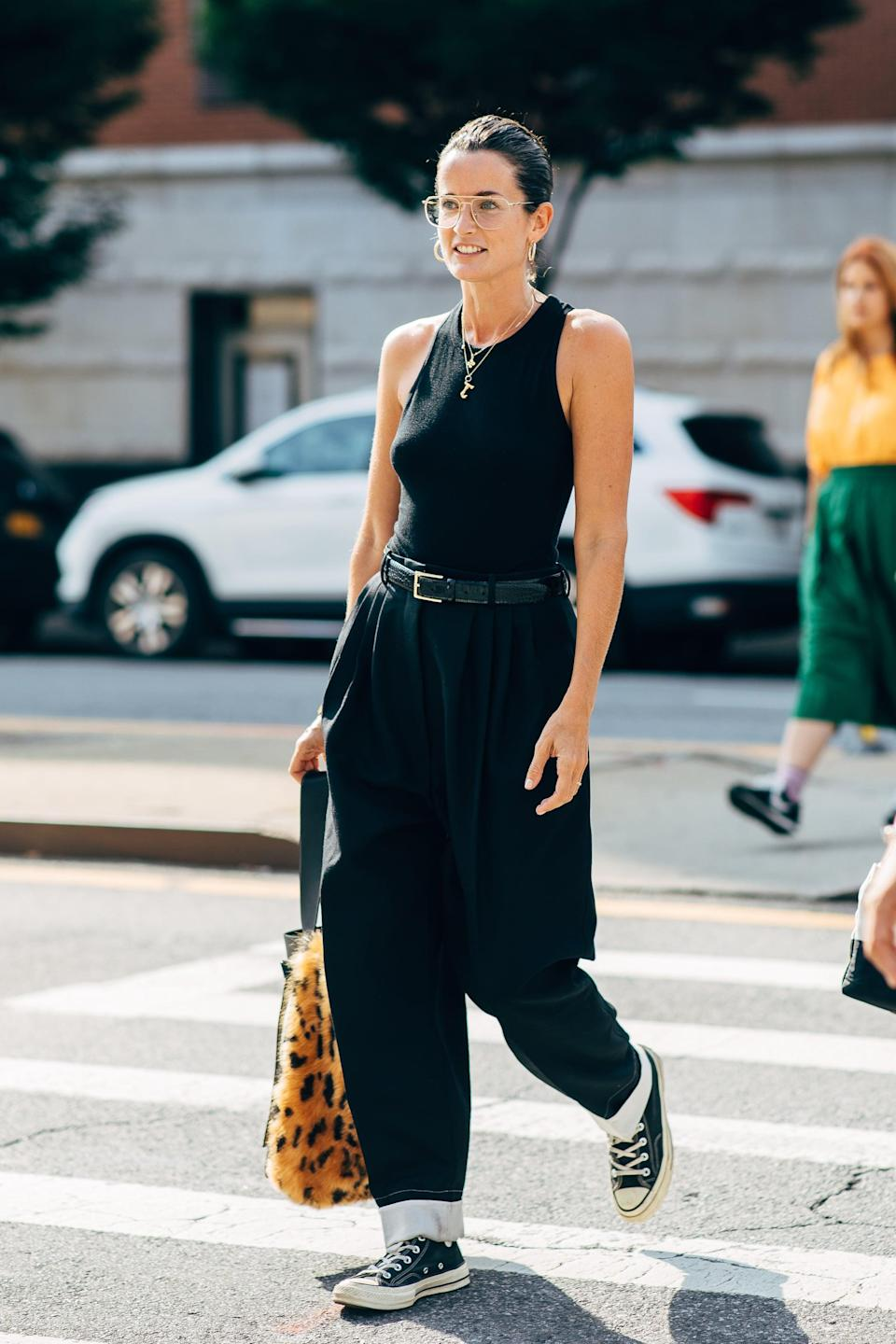<p>Don't overthink it - just add a tank to baggy jeans.</p>