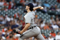 Detroit Tigers starting pitcher Casey Mize throws against the Houston Astros during the first inning of a baseball game Monday, April 12, 2021, in Houston. (AP Photo/Michael Wyke)