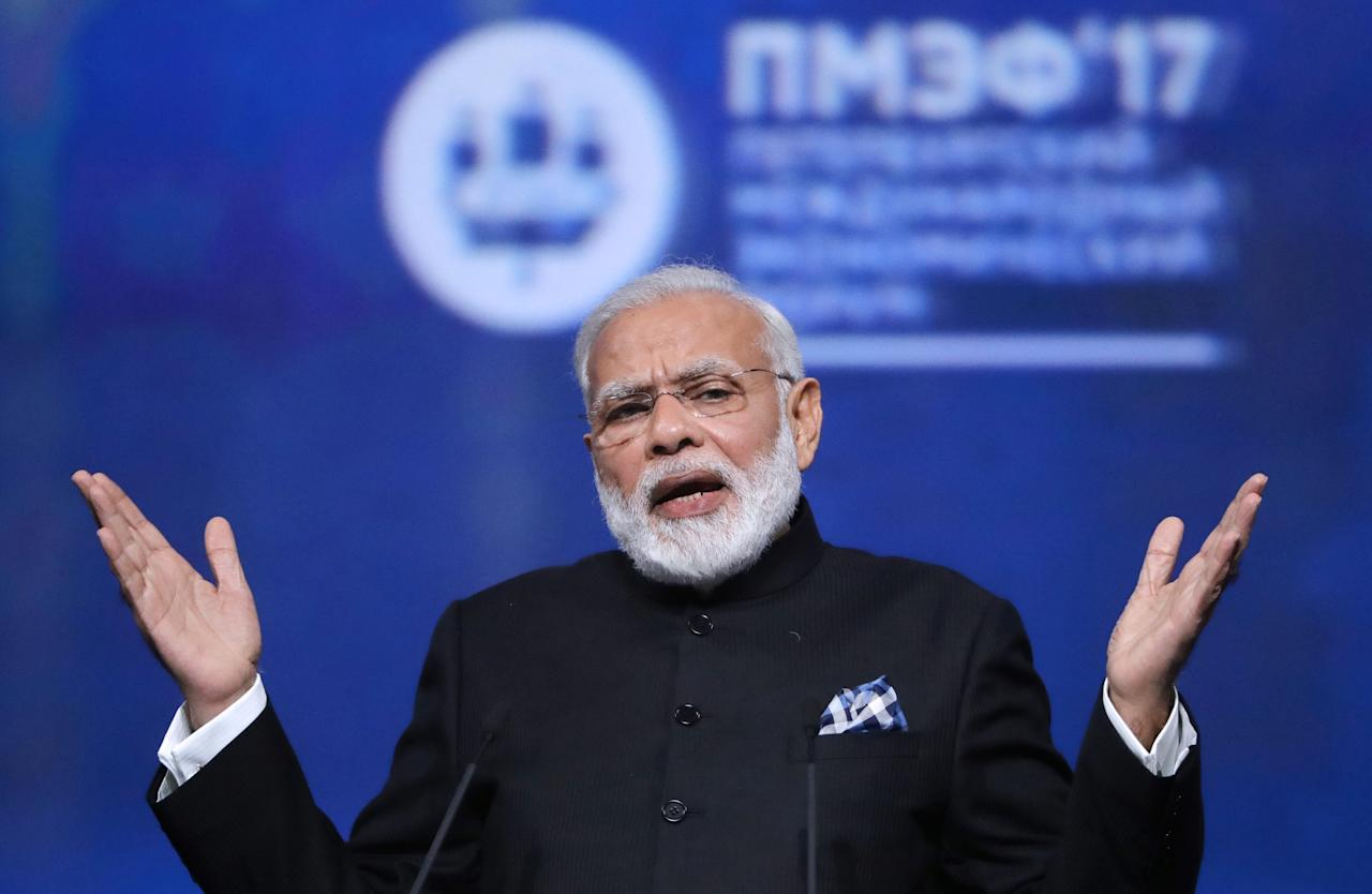 FILE PHOTO: Indian Prime Minister Narendra Modi gestures during a session of the St. Petersburg International Economic Forum (SPIEF), Russia, June 2, 2017. REUTERS/Mikhail Metzel/TASS/Host Photo Agency/Pool/File Photo