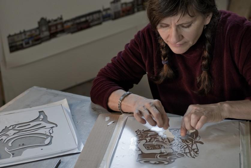 Kim Abeles, an artist whose work often centers around the environment, works on her Smog Collectors project.