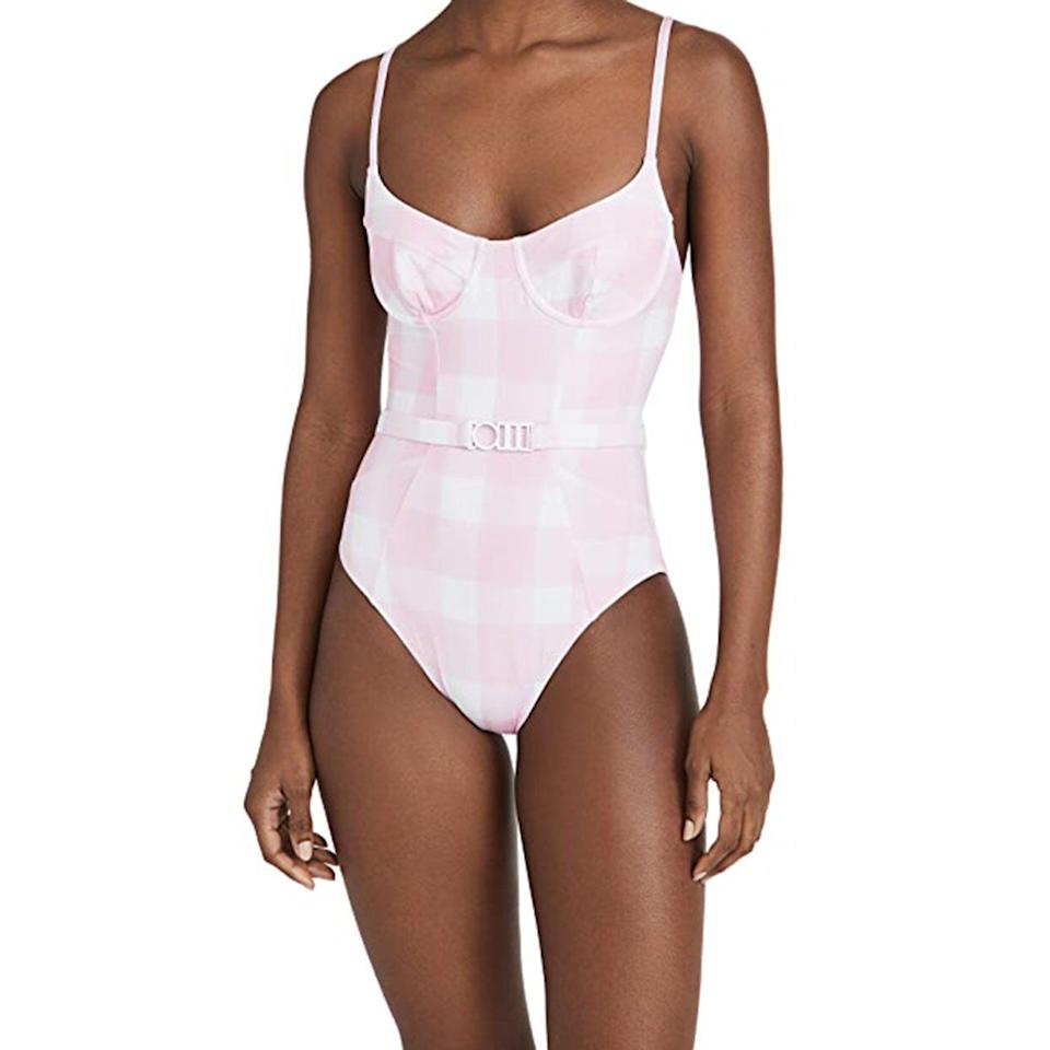 best belted one piece solid and striped