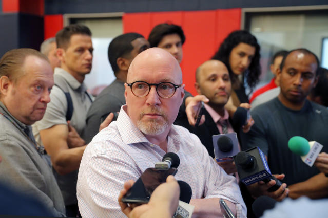 New Orleans Pelicans executive vice president of basketball operations David Griffin talks to reporters at their NBA basketball training facility in Metairie, La., Wednesday, Jan. 15, 2020. (AP Photo/Gerald Herbert)