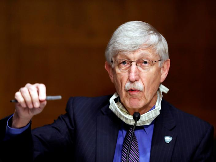 National Institutes of Health Director Dr. Francis Collins speaks to Congress on May 7.