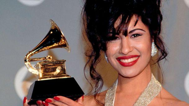 PHOTO: Selena Quintanilla-Perez poses with her award for Best Mexican-American Album in the pressroom of the 36th Annual Grammy Awards in New York, March 2, 1994. (Larry Busacca /Retna via AP, FILE)