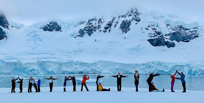 Haley and travel companions spelling out Antarctica while camping on the continent in January 2019 | Courtesy Haley Woods