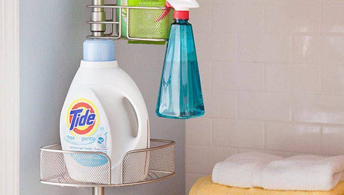 "<p>Shower caddies aren't just for your shower. Use a tension-based shower caddy in the laundry room to store your detergent, cleaning supplies, towels, and any other odds and ends.</p><p>Get the tutorial at <a href=""http://www.lowes.com/creative-ideas/utility-and-storage/shower-caddy-as-laundry-room-organizer/article#.UFKouZz-8l8.pinterest"" rel=""nofollow noopener"" target=""_blank"" data-ylk=""slk:Lowe's"" class=""link rapid-noclick-resp"">Lowe's</a>.</p>"