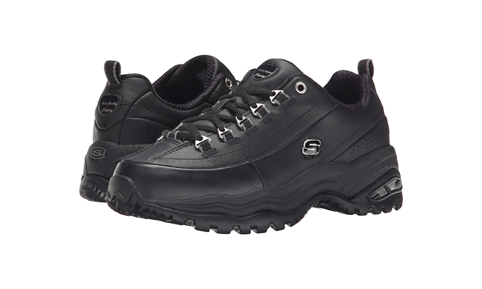 """<strong><a href=""""https://fave.co/2YxeUAs"""" rel=""""nofollow noopener"""" target=""""_blank"""" data-ylk=""""slk:Skechers Premiums in black leather"""" class=""""link rapid-noclick-resp"""">Skechers Premiums in black leather</a> (Photo: Zappos)</strong>"""