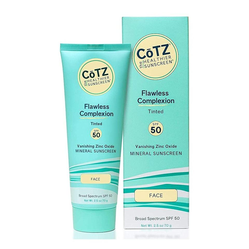 """Kikam says that Cotz's Flawless Complexion SPF 50, which has up to 20 percent zinc oxide, was a huge winner in her <a href=""""https://www.instagram.com/p/CNc59GrhAgL/"""" rel=""""nofollow noopener"""" target=""""_blank"""" data-ylk=""""slk:Brown Skin Friendly (BSF) report card"""" class=""""link rapid-noclick-resp"""">Brown Skin Friendly (BSF) report card</a> on Instagram, and you'll understand why…right now. """"It has one of the nicest textures I've ever seen in a sunscreen,"""" she says, calling out its """"very lightweight, buttery, and creamy texture with a sheer-to-satin finish."""" No need to worry about any potential balling-up action, either. Kikam confirms that this moisturizing, peach-tinted formula rubs in super easily — no white cast insight — and is great for both dry and oily-prone (since it's oil-free and non-comedogenic) skin types alike."""