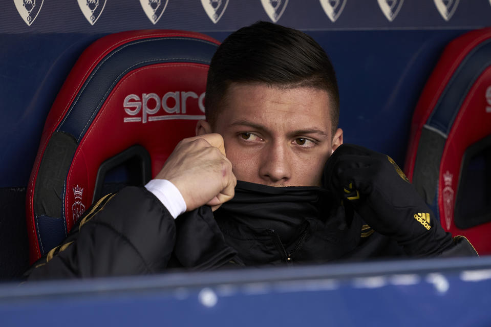 PAMPLONA, SPAIN - FEBRUARY 09: Luka Jovic of Real Madrid CF looks on prior the game during the Liga match between CA Osasuna and Real Madrid CF at El Sadar Stadium on February 09, 2020 in Pamplona, Spain. (Photo by Diego Souto/Quality Sport Images/Getty Images)