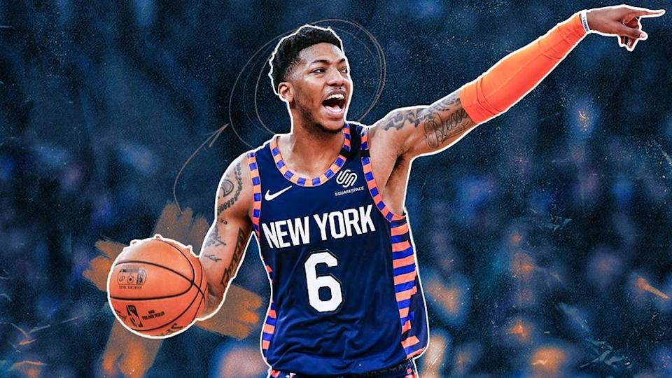 Elfrid Payton running point in Knicks alternate jersey TREATED IMAGE
