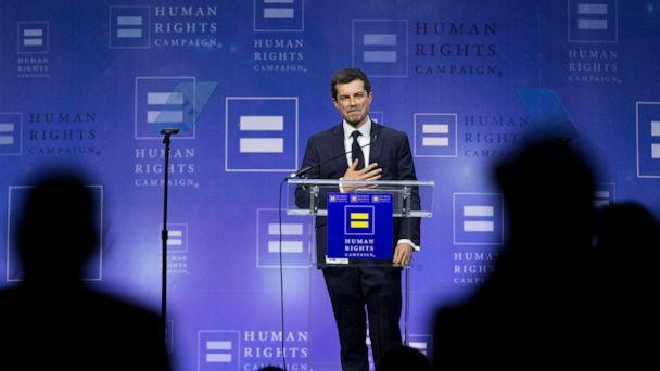 PHOTO: Democratic presidential candidate Pete Buttigieg thanks the crowd at the conclusion of his speech during the Human Rights Campaign's 14th Annual Las Vegas Gala dinner at Caesars Palace, on Saturday, May 11, 2019, in Las Vegas. (Benjamin Hager/Las Vegas Review-Journal via AP)