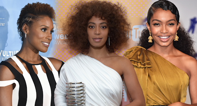 <p>Issa Rae, Solange, and Yara Shahidi serve natural-hair goals. (Photo: Getty Images) </p>