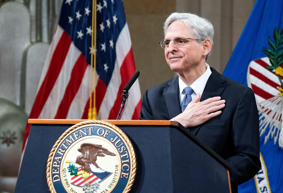 President Joe Biden's pick for attorney general Merrick Garland, addresses staff on his first day at the Department of Justice, March 11, 2021, in Washington.  Garland, a one time Supreme Court nominee under former President Barack Obama, was confirmed March 10 by a Senate vote of 70-30.