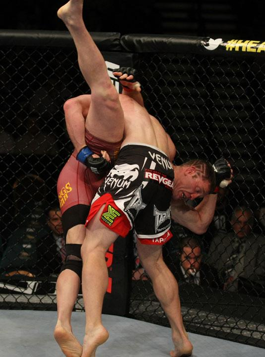LAS VEGAS, NV - MAY 26:  CB Dollaway slams Jason Miller (pictured) during a middleweight bout at UFC 146 at MGM Grand Garden Arena on May 26, 2012 in Las Vegas, Nevada.