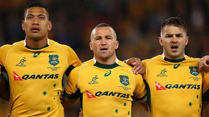 Folau (L) played alongside Mitchell (R) for the Wallabies. Pic: Getty