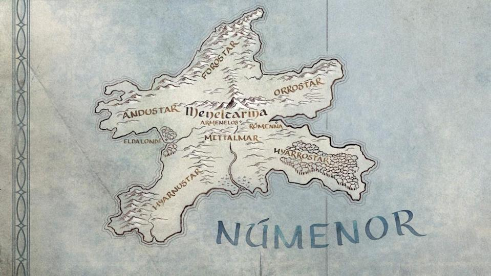 A map of the island Númenor from Amazon's upcoming Lord of the Rings TV series.