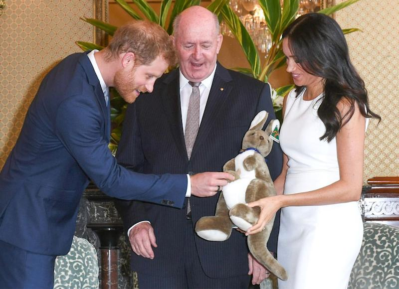 Prince Harry, Governor General Peter Cosgrove and Meghan Markle