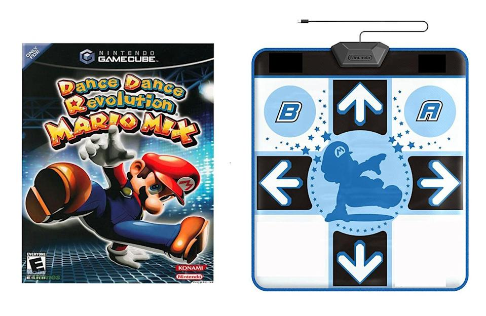 "<p>Arguably the world's best arcade game, this special edition of Dance Dance Revolution is <a href=""https://www.ebay.com/itm/Dance-Dance-Revolution-Mario-Mix-Gamecube-Brand-New/293795811513?epid=47823151&hash=item44679850b9:g:AbwAAOSwgfJfkdar"" rel=""nofollow noopener"" target=""_blank"" data-ylk=""slk:worth $250"" class=""link rapid-noclick-resp"">worth $250</a>, and that's without including the legendary GameCube console. </p>"