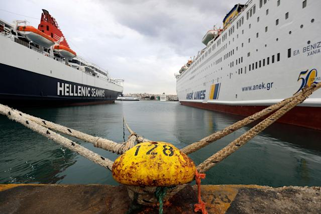 <p>Ferries are docked at the Athens' port of Piraeus during a nationwide general strike on Wednesday, May 17, 2017. Workers are protesting a new deal with Greece's international creditors that impose a raft of new tax hikes and spending cuts beyond the end of the country's third bailout in 2018. (AP Photo/Thanassis Stavrakis) </p>