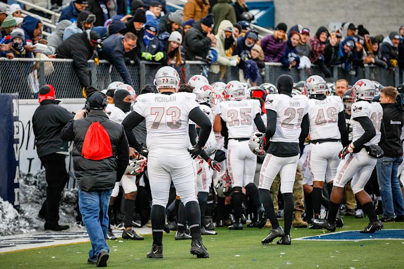 A fight broke out in the end zone after the game between Nevada and the UNLV. The Rebels won in overtime at Mackay Stadium on November 30, 2019, in Reno, Nevada.